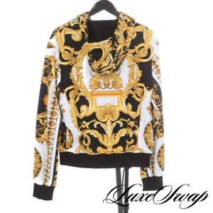 NWT Versace Made in Italy Tribute Collection Baroque 1992 Black Gold Hoodie S NR