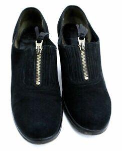 VTG WW2 1940s Shoes Sz 6.5 Black Suede Zipper  Oxfords Low Heel Educator HTF