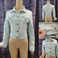 NEXT Women Denim Jacket Size 8 Washed Blue Jean Buttons & Pockets Short Cropped