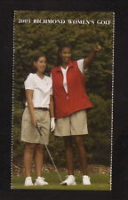 Richmond Spiders--2003 Golf Pocket Schedule