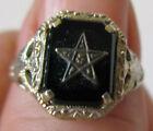 vintage antique 14k Gold Black Onyx Eastern Star Membership Ring 6.5