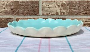 """Rare GMcB CATALINA POTTERY Clam Shell Relief Ivory Turquoise Low Bowl 8""""x1"""" deep"""