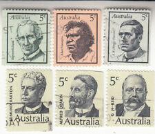 Australia 1968-69 Famous David, Namarjira, Paterson, Barton, Deakin, Reid. Used