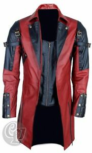 MENS REAL LEATHER GOTH MATRIX TRENCH COAT STEAMPUNK GOTHIC BLACK RED - XXS - 4XL