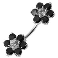 925 Sterling Silver Jeweled Twins Flowers Spinal Belly Button Ring