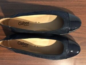 WOMENS CASUAL GABOR LADY SLIP ON NAVY FABRIC PATENT COMFORT SHOES - SIZE 7M