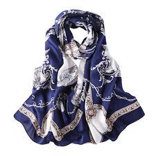 Long Silk Satin Scarf Navy Blue Links and Belts Print LZD025