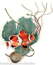 WALL ART - CLOWNFISH  METAL WALL SCULPTURE - ANEMONE FISH SCULPTURE - NAUTICAL