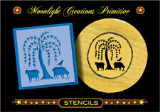 Primitive Stencil~Willow Crow And Sheep~Old Fashion Looking Vintage Prim Design