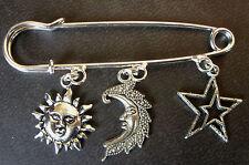 Color Plata Sol, Media Luna luna, Estrellas Amuleto Charm charm broche