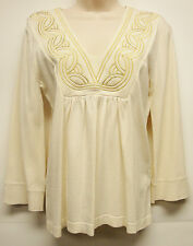 """*NWT Stunning August Silk """"Stretch"""" V Neck Cream Top/Blouse sz Small-Nice!!"""