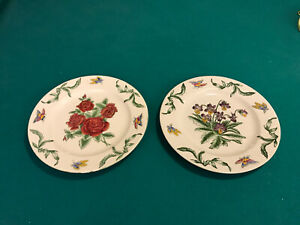 2 VINTAGE ORIENTAL ACCENT DECORATIVE 10.5 Inch Hand Painted Plates Pansies Roses