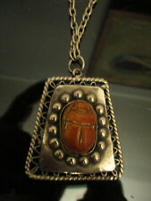 Vintage Mod Retro Glazed Pottery Scarab Beetle Bug Silver Tone Pendant Necklace!