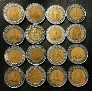 Vintage Egypt Coin Lot - KING TUT - 16 Pound Coins - Bi-Metal - Lot #A8