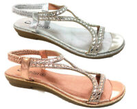 New Women Flat Sandals Diamante Pearl Lady Slingback Holiday Casual Party Shoes