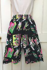 "Vintage 80s 90s Black Pink Yellow Baggy Surf Bermuda Shorts 6 8 10 26/28"" Waist"