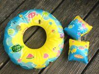 Schwimmring + Flügel für Puppen Puppe BABY Schwimmset Heless  Badeset Baby Born