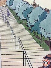 Aquarelle illustrateur circa 1910 les avantages escalier de Montmartre à Paris