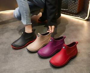 Ladies Short Ankle Wellies Rain Boots Winter Chelsea Women Wellington Shoes Size