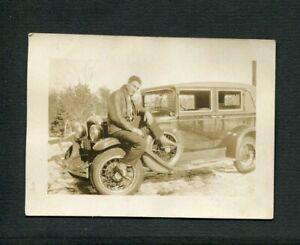 Man w/ 1928  Pontiac Landau Sport Sedan Car Vintage Photo 471124