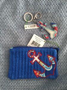 Vera Bradley Seashore Zip Pouch And Keychain Marina Paisley NWT Free Shipping