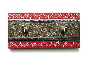 Wooden Hand crafted Red Blue Coloured Hand Painted Wall Hooks - Double Hooks