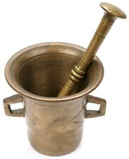 """Antique Large Brass 4 1/4"""" Apothecary Mortar & Pestle Pharmacy Medical Medicine"""