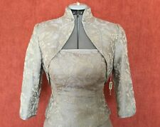 wedding,mother of the bride amazing gown,3 pieces in silver taffeta and brocade