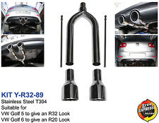 """Exhaust muffler for VW GOLF 5 6 to give an R32 R20 look with 3.5"""" / 89mm tips"""