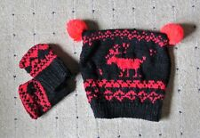 Reindeer Pompom Scandinavian Hat and Gloves. Age 9-12 Months. Handknitted  in UK 5ca8d411b385