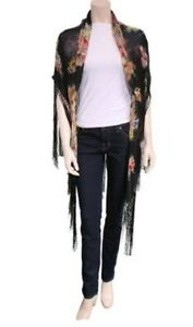 D&G Fan Print Triangle Scarf With Fringes