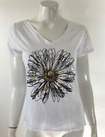 Recycled Karma Womens Top Small White Gold V Neck Short Sleeve Flower Graphic