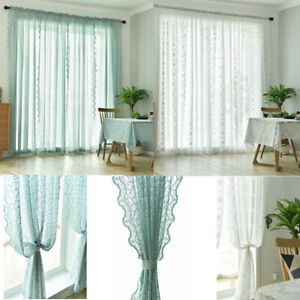 2 PANEL PATTERN SHEER VOILE WINDOW TREATMENT LISA CURTAIN PANEL VALANCE DRAPES