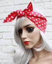 Red White Spotty Vtg Kitsch 1950s Head Scarf Rockabilly 50s Vintage Style