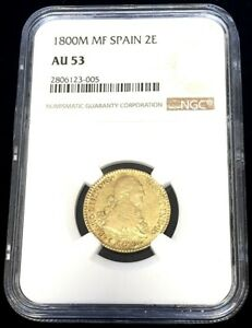 1800 M MF GOLD SPAIN 2 ESCUDOS CHARLES IV COIN MADRID MINT NGC VF 35