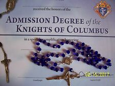 KNIGHTS OF COLUMBUS Rosary- Colbal Blue 20 inches
