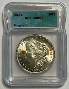 1921-P $1 Morgan Silver Dollar ICG MS 64, 5 Days Auction