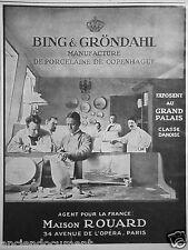 PUBLICITÉ 1925 BING & GRÖNDAHL PORCELAINE DE COPENHAGUE MAISON ROUARD
