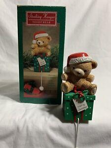 1985~Hallmark CHRISTMAS STOCKING HANGER ~ TEDDY BEAR ~ MIB~ VINTAGE