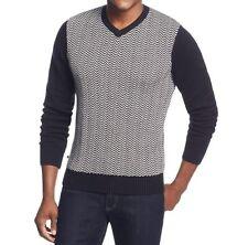 Geoffrey Beene Sweater Sz L Black White Chevron Crewneck Pullover Casual