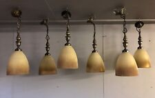 Vintage Antique Ribbed Glass Pendulum Ceiling Lamp Pendant Light *SIX AVAILABLE