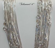 """10 pcs 20"""" Box Chain Necklace REAL 925 Sterling Silver 1 mm Italy WHOLESALE LOT"""