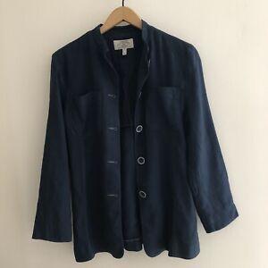 Vintage Giorgio Armani Jeans Navy Blue Linen Blend Jacket • Size 14