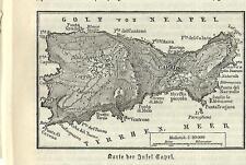 Stampa antica CAPRI piccola pianta dell'isola Napoli 1890 Old antique print