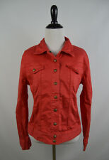 Lucky Brand Women's Jean Jacket Size Medium Coral Red Cropped