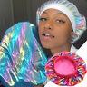 Women Satin Night Sleep Cap Hair Bonnet Hat Silk Head Cover Wide Elastic Band