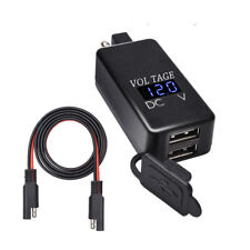 Motorcycle SAE to USB Cable Adapter 5V 4.2A Dual Port USB Two Charger Voltmeter