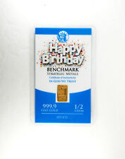 1/2 GRAM GOLD (HAPPY BIRTHDAY) BULLION BAR PURE FRACTIONAL GOLD .999 FINE f2