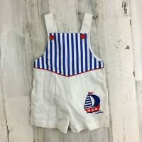 Vtg BABY TOGS Boys White Sailor Romper Sailboat Appliqué Shortall Jon Sz 18 M