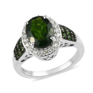 Halo Ring 925 Sterling Silver Platinum Over Chrome Diopside Gift Size 7 Ct 2.6